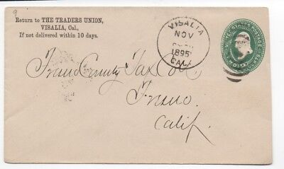 1895 US Cover with Corner Card from The Traders Union Visalia (Visalia Ca Us)