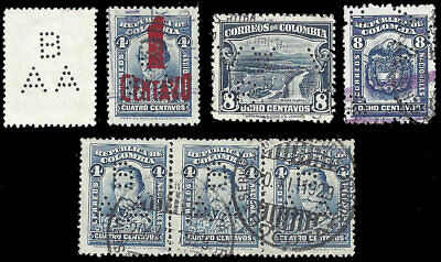 COLOMBIA - Perfin B/AA (wide version) - Banco Alemán-Antioqueño - 7 stamps
