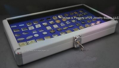 6 Wholesale Locking Aluminum Blue Cufflinks Display Portable Storage Boxes Cases
