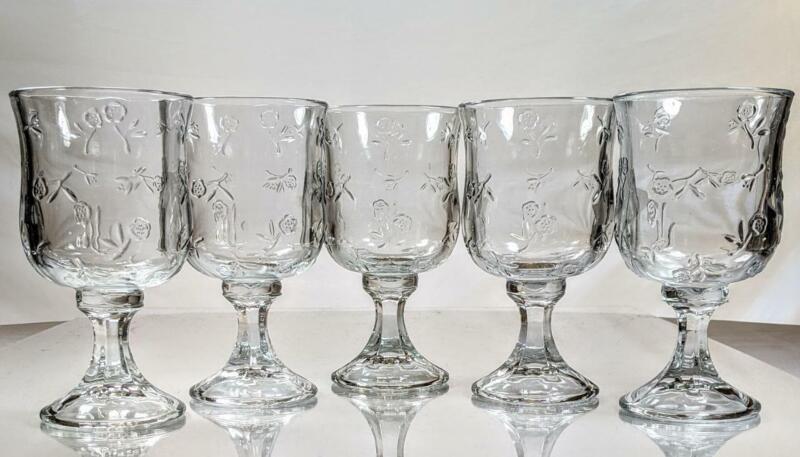 Set of 5 Vintage ANCHOR HOCKING Savannah Clear  Water Goblets Rose Floral