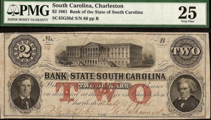1861 $2 LOW # 86 IT SOUTH CAROLINA BANK NOTE CIVIL WAR LARGE CURRENCY PMG 25