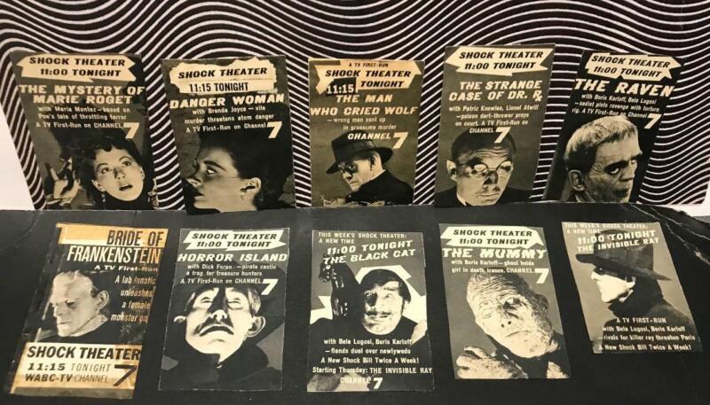 Original Shock Theatre John Zacherley Ch. 7  N.Y. T.V. Guides Monsters Lot of 10