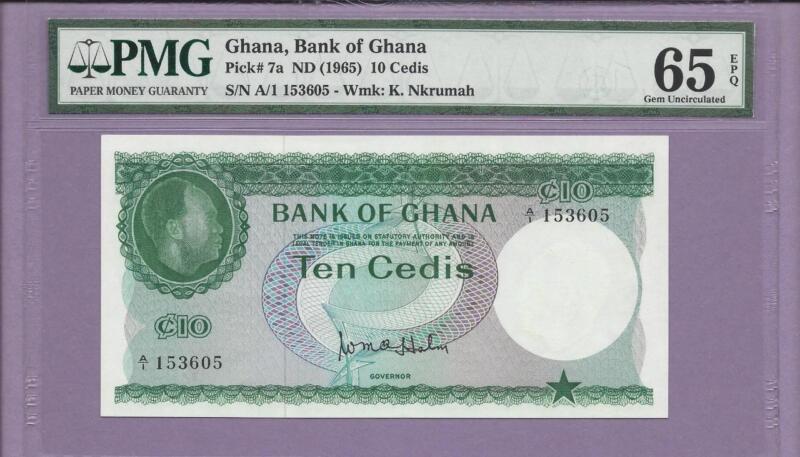 1965 Ghana, Bank of Ghana  Pick # 7a   PMG EPQ  **SCROLL DOWN FOR SCANS**