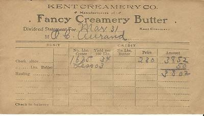Kent Creamery Company Butter Grand Rapids Michigan Dividends Aurand Oldfort Ohio