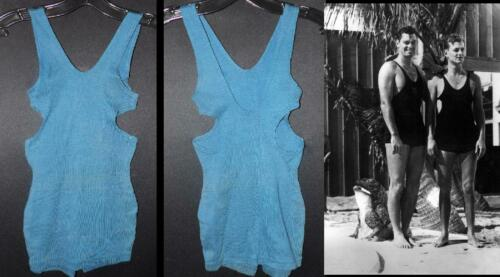 ORIG VTG 20s 30s YOUNG MENS TEAL BLUE KNIT NOT WOOL BATHING SWIM SUIT NEW OLD