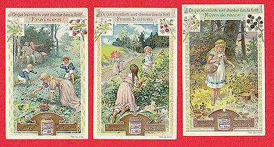 LIEBIG - RARE SET OF 6 CARDS - S 664 / F 657 - CHILDREN GATHERING FRUIT -  1901