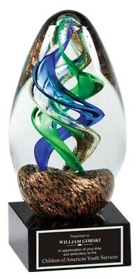 Employee Of The Month Office Recognition Award 5.25 Art Glass Trophy M-glsc47