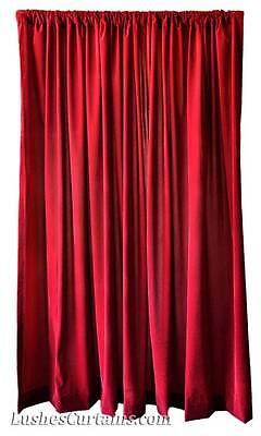 Velvet Drapery - Home Movie Theater Window Drapes Burgundy Velvet 108 in/9 ft Curtain Long Panel