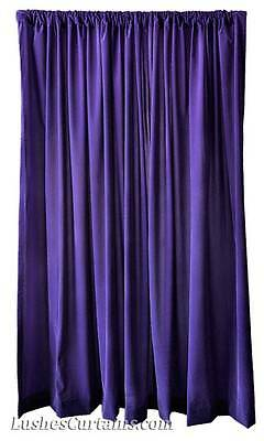 120 inch H Solid Purple Velvet Curtain Long Panel Party Event Wedding Drapery (Purple Velvet Curtains)