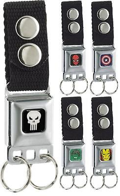 Key Chain Seat Belt Buckle Marvel Comics Captain America Hulk Iron Spider Man