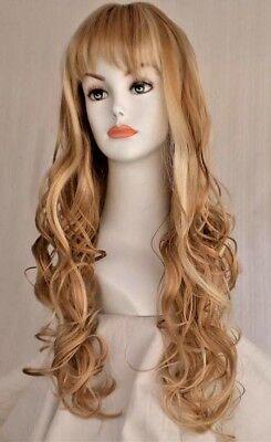 - Long Curly wig w/soft curls & bangs-Black/Brown/Auburn/Blonde Partial Skin Top