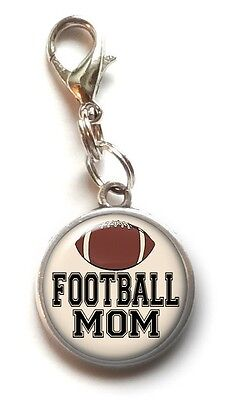 Sports Mom Charm - Clip On Charm FOOTBALL MOM Sports Dangle Charm Lobster Claw Clasp Handmade USA