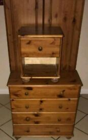 Wardrobe chest of drawers and bedside table