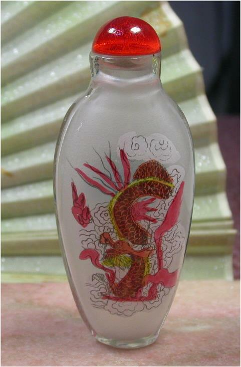 Chinese HAND Draw Glass Dragon Snuff Bottle inside Painting 886480