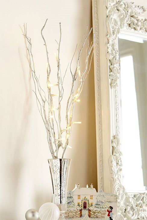 Set of 5 LED silver painted battery operated branches