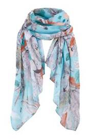 Turquoise Feathers Scarf