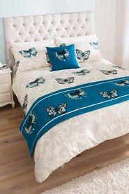 Butterfly Complete Duvet Set (double) - duvet cover, 2 pillow cases, cushion and a runner