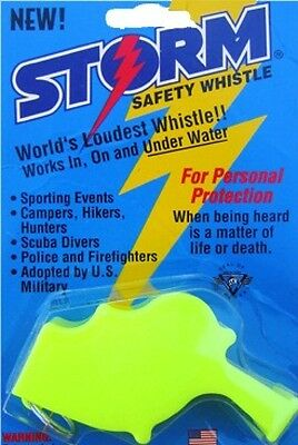 Storm Whistle loudest whistle in world  Yellow Boating Safety