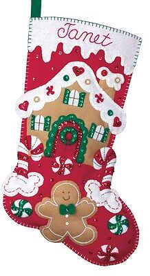 "Bucilla 18"" Christmas Felt Stocking Kit ""Gingerbread House""  Candies Red Green"