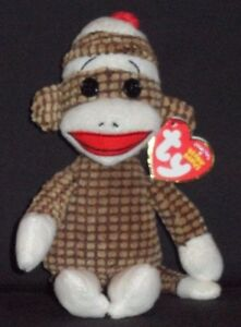 TY SOCKS the BROWN QUILTED SOCK MONKEY - MINT with MINT TAGS