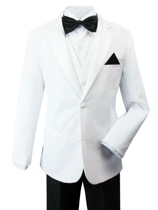 Rafael Boys Kids Children Toddler White Tuxedo Jacket 5pc...