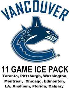 VANCOUVER CANUCKS *11 GAME ICE PACK* BEST GAMES TOR PIT MTL CHI