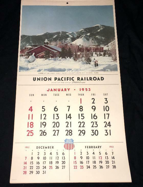 1953 UNION PACIFIC RAILROAD PAPER WALL CALENDAR HANGING VINTAGE DOMELINER