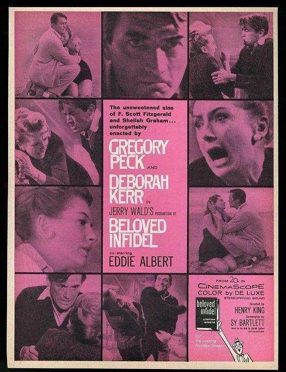 1959 Beloved Infidel movie release Gregory Peck Deborah Kerr photo trade ad