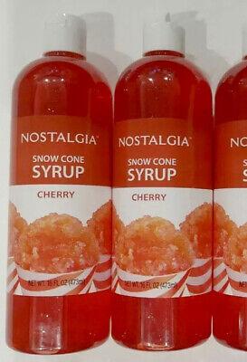 Nostalgia Snow Cone Syrup Cherry New Sealed 16 Oz Each - 2 Bottles