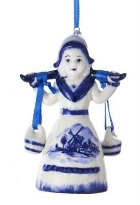 KURT S. ADLER PORCELAIN DELFT BLUE GIRL CARRYING POTS CHRISTMAS ORNAMENT Delft Blue Christmas Ornament