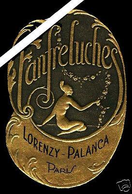 French Perfume Label: Art Deco Antique Embossed Fanfreluches Palanca Paris  Antique Label Art