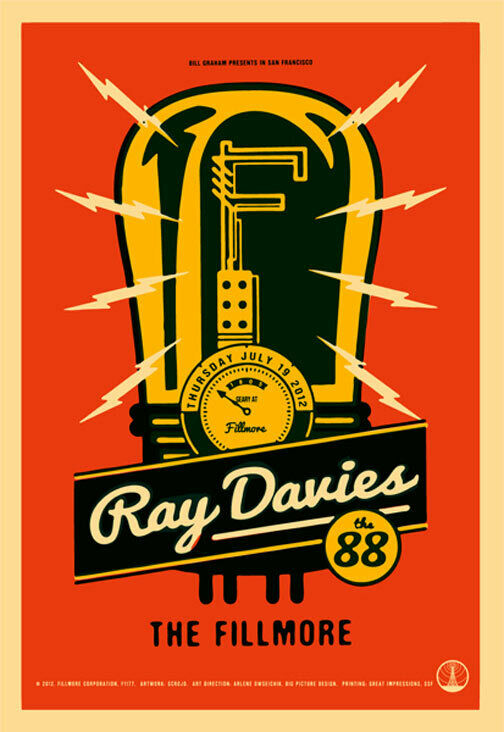 Ray Davies The 88 Fillmore San Francisco 7/19/2012 Poster F1177 Scrojo The Kinks