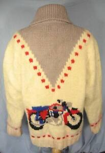 RARE Wool Hand-made Unisex Lined Motorcycle Cowichan Sweater