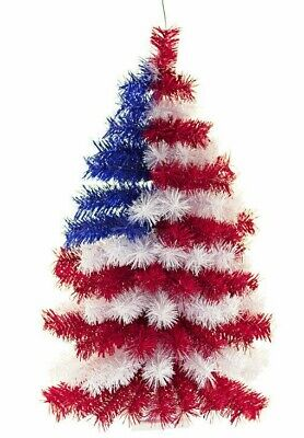 3FT 4TH of July Hanging Wall Christmas Tree Classic Tinsel Half Wall Decor 36''