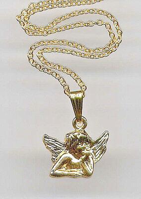 BEAUTIFUL GUARDIAN ANGEL Cupid Cherub Raphael Pendant Necklace 14K Gold gp Chain - Guardian Angel Necklace