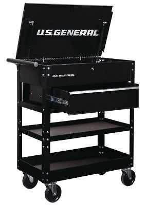 Box Utility Cart - New 30 in. Tool Storage Box Cart, Solid Glossy Black, Utility Drawer Garage Tech