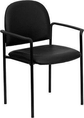 Black Vinyl Comfortable Stack Office Side Chair - Waiting Room Chair