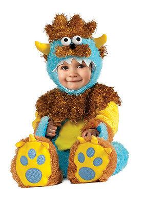 Furry Monster Costume Infant Toddler Boys Child Baby Blue Yellow Horned Kids NEW - Monster Infant Costume