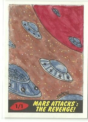 2017 Topps Mars Attacks The Revenge ! Flying Saucers Sketch Card by Shaow Siong