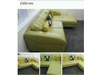 Lime green leather sofa in very good condition