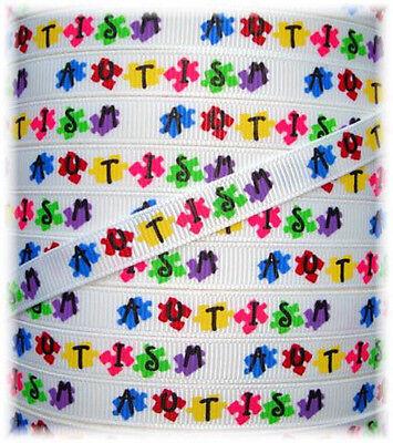 3/8  CLASSIC AUTISM AWARENESS GROSGRAIN RIBBON AUTISTIC PUZZLE 4 HAIRBOW BOW 5YD Autism Awareness Puzzle Ribbon