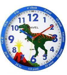 Dinosaur time teacher kids blue Wall Clock By Ravel Quartz