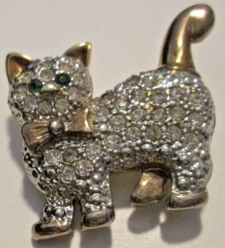"Kitten Kitty CAT rhinestone with green eyes goldtone brooch pin 1.25"""