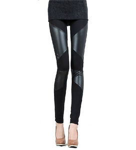 Stylish Splicing Imitation Leather Slim Skinny Women's Ninth Pants Leggings