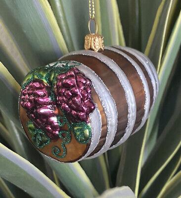 Wine Glass Ornament SUR la TABLE Grapes Barrel Food Fruit Garden Thanksgiving