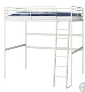 Twin loft bed from Ikea white metal