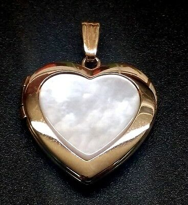 ***14K YELLOW GOLD HEART SHAPED MOTHER OF PEARL LOCKET***20mm**BRAND NEW* 14k Gold Heart Shaped Locket