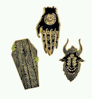 3pcs/set Hand of Doom Coffin Satan Brooch Dark Enamel Pins Button goth witch - Coffin Witch