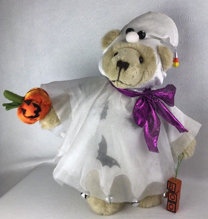 Halloween Teddy Bear Plush Dressed Up As Ghost Trick-Or-Treat Boo! Stands Alone