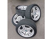 "4x 17"" BMW Mtech alloy wheels w/ almost new tyres"
